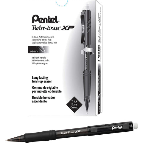 Pentel Twist-Erase Express Mechanical Pencil 0.9mm Black, 12-count