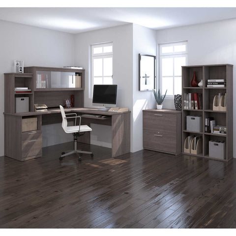 Sutton L-Shape Desk with Hutch, Lateral File and Cubby Bookcase