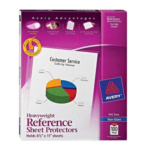 Avery Top-Load Poly Sheet Protectors, Heavy Gauge, Letter, Nonglare, 100-count, AVE 74102