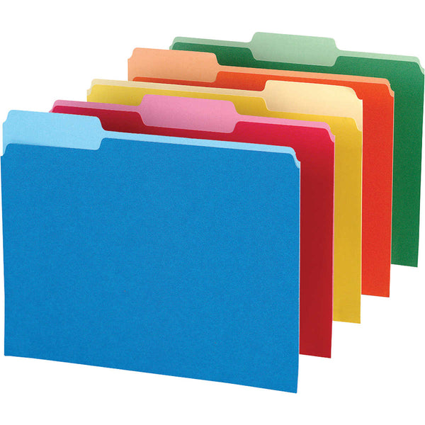 Pendaflex Top-Tab Folders Assorted Colors 1/3 Cut Letter, 100-count