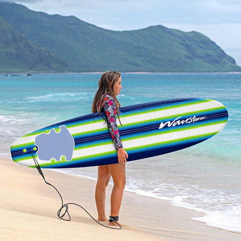 Wavestorm 8' Surfboard Blue/Green Pinline