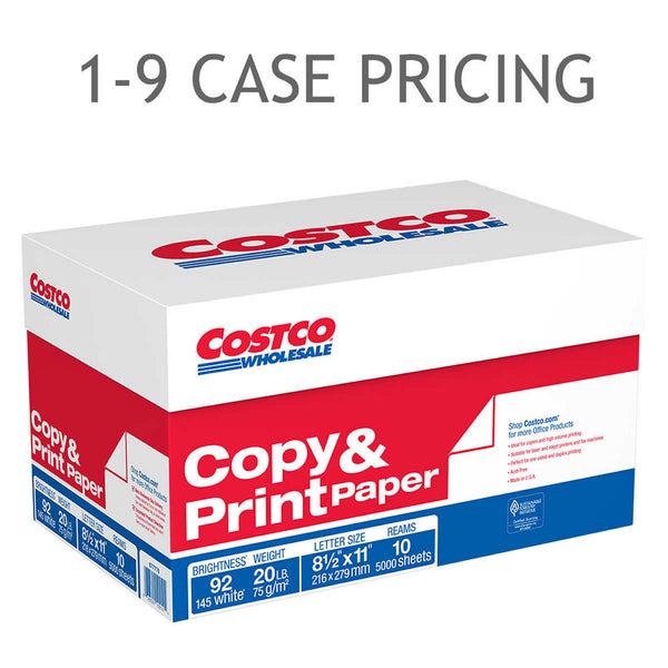 Costco Copy Paper, Letter, 20lb, 92-Bright, 10 Reams of 500 sheets,1-9 Case Pricing