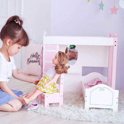 Doll Loft Bunk Bed Set with Vanity and Chair