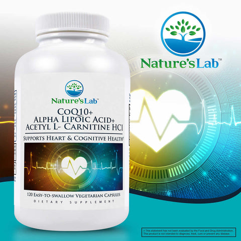 Nature's Lab CoQ10 + Alpha Lipoic Acid + Acetyl L-Carnitine HCl, 120 Vegetarian Capsules