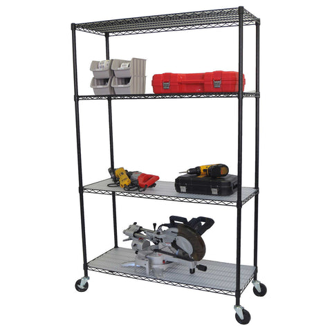 "TRINITY 4-Tier Wire Shelving Rack, 48"" x 18"" x 72"", NSF, Includes Wheels and Liners, Black"
