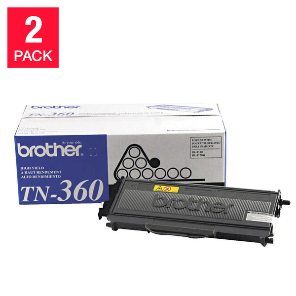 Brother TN360 High-Yield Toner Cartridge, Black, 2-pack