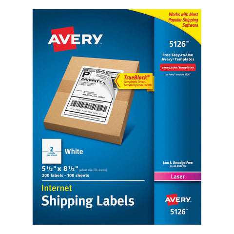 Avery Labels with TrueBlock Technology 5-1/2 x 8-1/2, 200-count