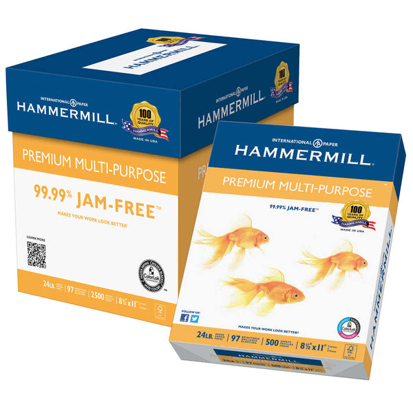 Hammermill Multi-Purpose Paper, Letter, 24lb, 97-Bright, 5 Reams of 500 sheets