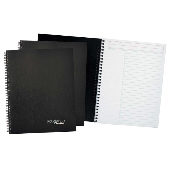 Cambridge Limited Action Planner Wirebound Business Notebook, Black, 80 Sheets, 3-count