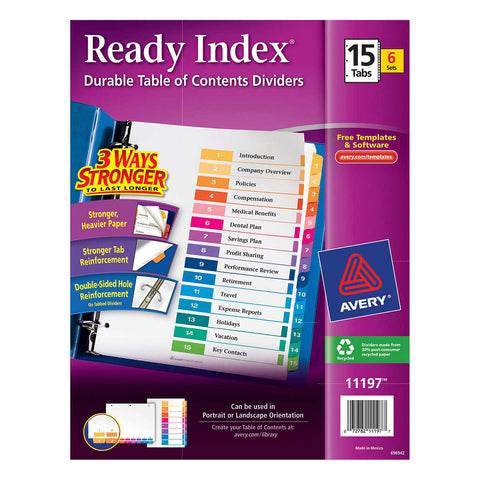 Avery Ready Index-Table of Contents Dividers 15-Tab 6-Set AVE 11197