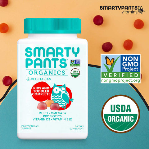 SmartyPants USDA Organic Kids & Toddler Complete Multivitamin, 180 Vegetarian Gummies