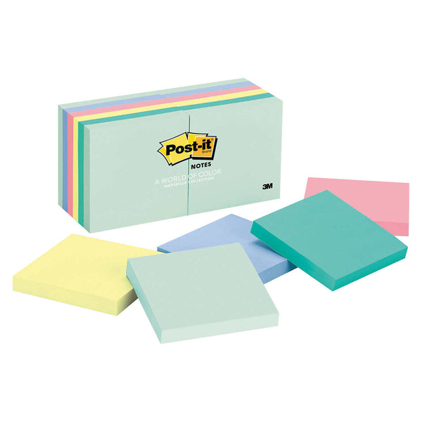 Post-it Self Stick Notes, Marseille Colors, 3 x 3, 12-pack