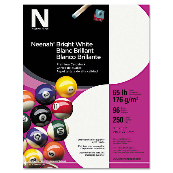Neenah Card Stock, Letter, Bright White, 65lb, 250 Sheets