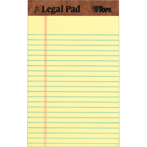 TOPS The Legal Pad Jr., 5 in. x 8 in., Canary, 12-count