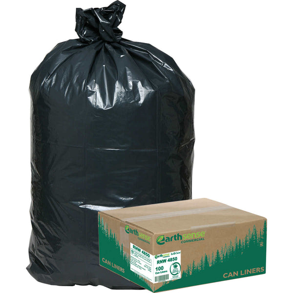 Earthsense Recycled Star Bottom Trash Bags, 40-45 gal, Black, 100-count
