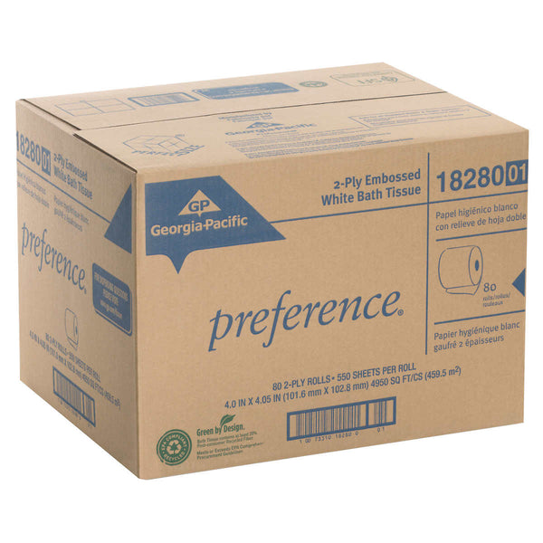 Georgia-Pacific Preference Bath Tissue Rolls 2-ply, White, 80-count
