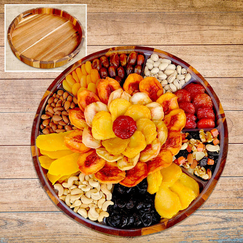 Vacaville Fruit Company 74 oz, Dried Fruit & Nut Grand Acacia Wood Tray