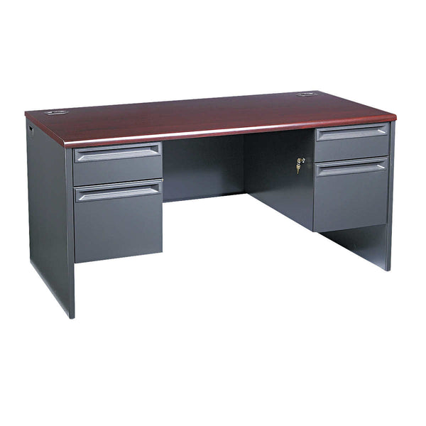 "HON 38000 Metal Series Double Pedestal Desk 60""W Mahogany/Charcoal"