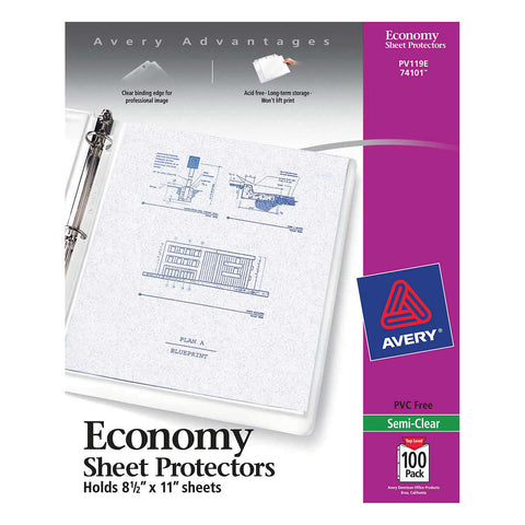 Avery Top-Load Poly Sheet Protectors, Economy Gauge, Letter, Semi-Clear, 100-count, AVE 74101
