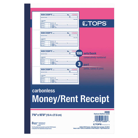 Tops Carbonless Three-Part Money/Rent Receipt Books,  2 3/4  x 7 1/8  300-count