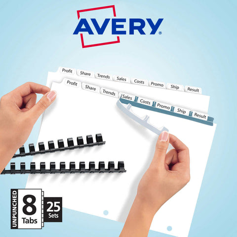 Avery Clear Label 8-Tab Index Divider, Letter Size, 25 Sets