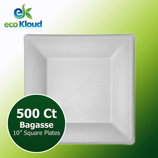 "Eco Kloud 10"" Square Plate, 500-count"