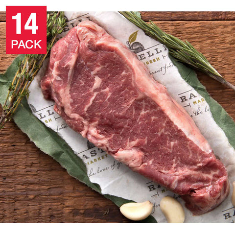 Rastelli Market Organic Grass-Fed N.Y. Strip Steaks 12 oz, 14-pack, 10.5 lbs.