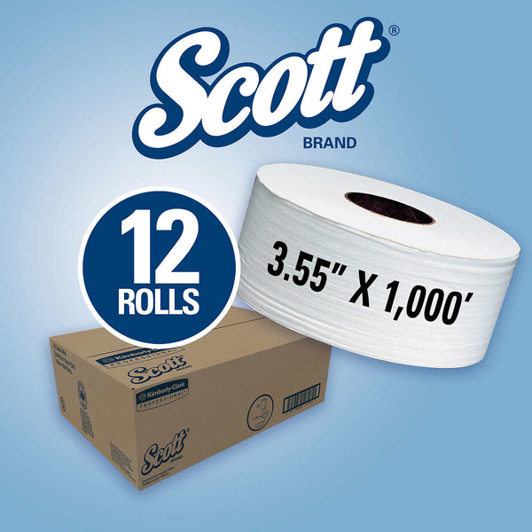 Scott JRT Jr. Jumbo Roll Bath Tissue 2-ply White, 1,000' per Roll, 12-count