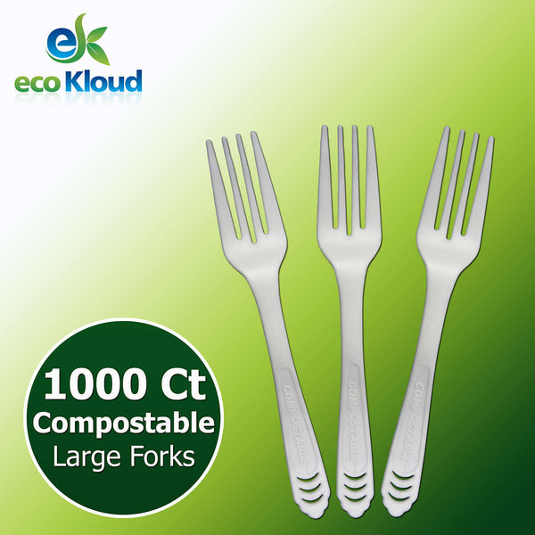 Eco Kloud Compostable Fork, 1000-count