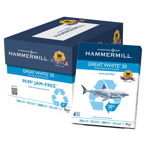 Hammermill Great White, 30% Recycled Printer Paper, Letter, 20lb, 92-Bright, 10 Reams of 500 sheets