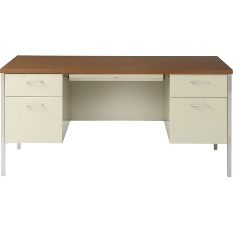 "Alera Double-Pedestal Steel Desk 60"" Oak & Putty"
