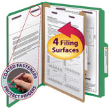 Smead Classification Folders 4-section Green 2/5 Cut Letter, 10-count