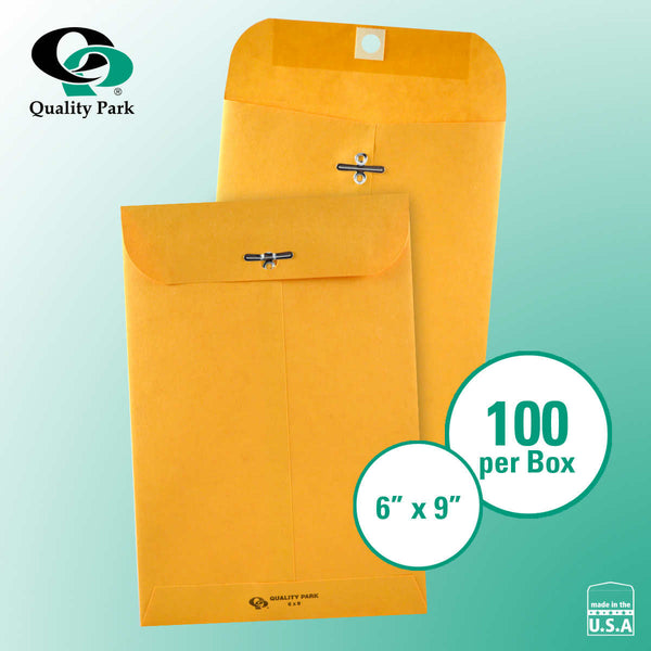 "Quality Park Clasp Envelope 6"" x 9"" Kraft, 100-count"