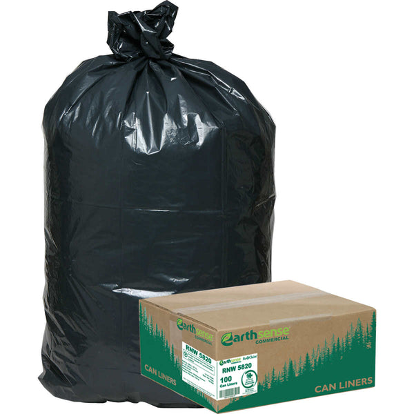 Earthsense Recycled Star Bottom Trash Bags, 55-60 gal, Black, 100-count