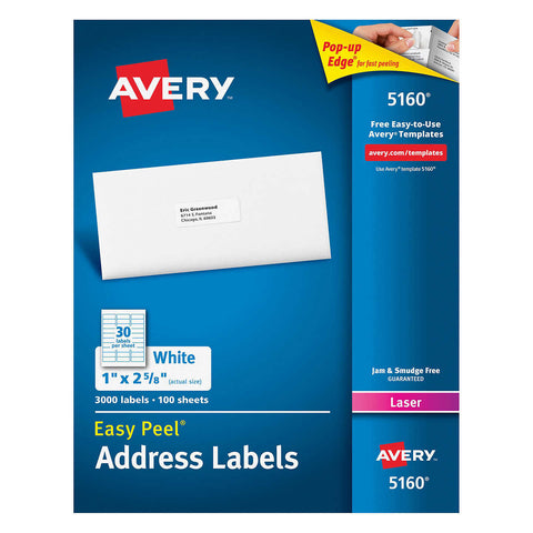 Avery Easy Peel Laser Mailing Labels 1 x 2-5/8, 3,000-count