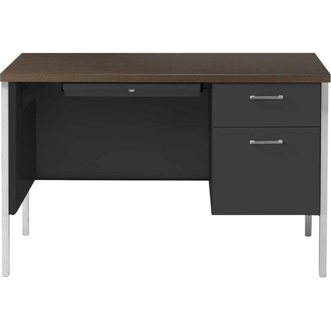 "Alera Single Pedestal Steel Desk 45"" Walnut & Black"
