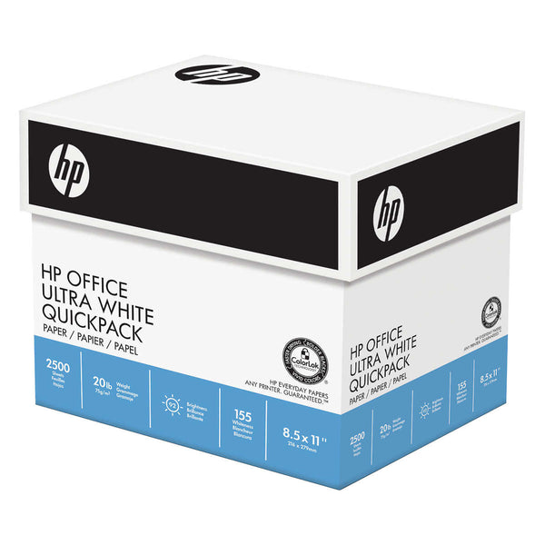 HP Office Ultra White Quickpack Printer Paper, Letter, 20lb, 92-Bright, 2,500 sheets