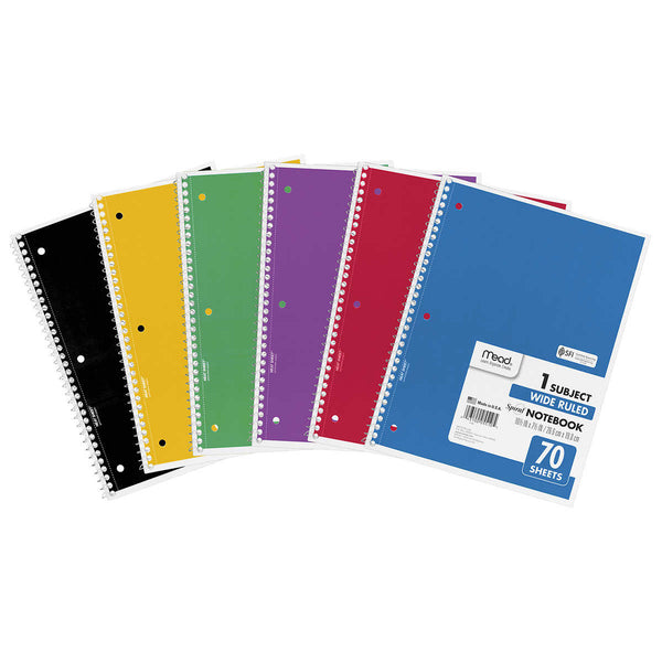 Mead Wire Notebook, Assorted Colors, 70 Sheets, 12-count