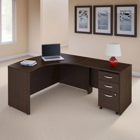 Bush Series Right Hand C Manager's Desk in Mocha Cherry Finish