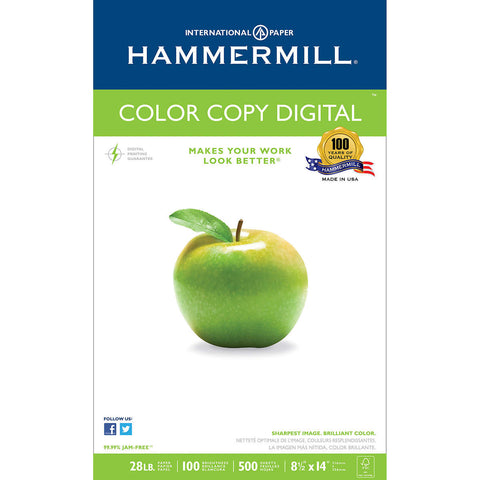Hammermill Color Copy Digital Paper, 8-1/2 x 14, Photo White, 28lb, 100-Bright, 500 sheets