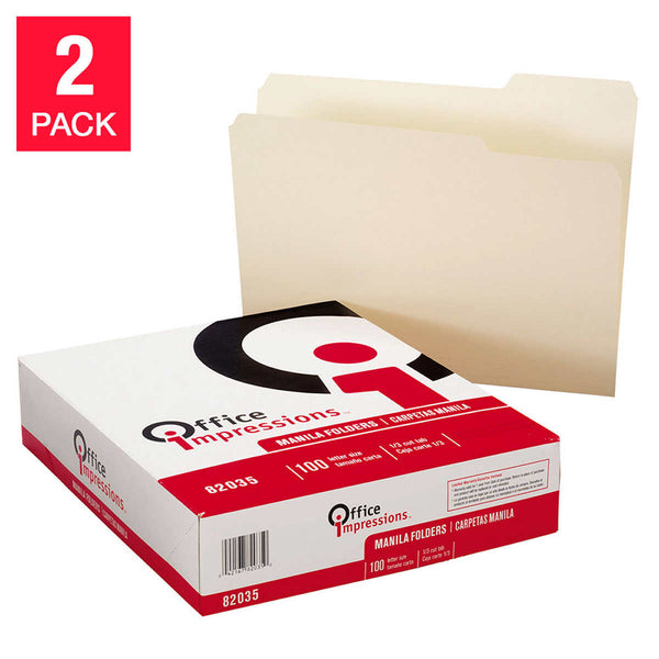 Office Impressions Manila Folder,1/3 Cut, Top Tab, 200-count