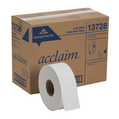 Georgia-Pacific Acclaim Jumbo Jr. Bath Tissue Rolls 2-ply, White, 8-count