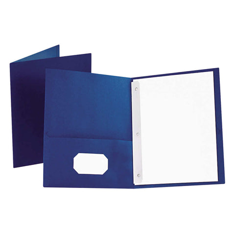 Oxford Twin-Pocket Folder with Fasteners Letter, Blue, 25-count