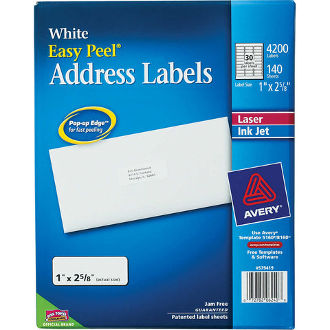 Avery Easy Peel Address Labels, 4200-count