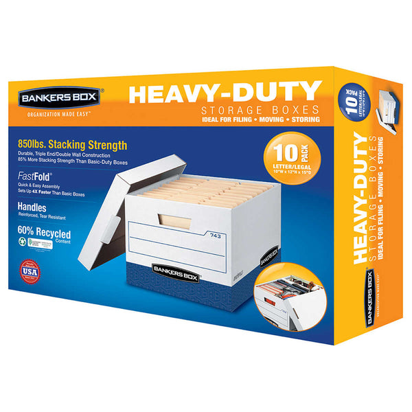 Bankers Box Heavy Duty File Boxes Letter/Legal 10-pack