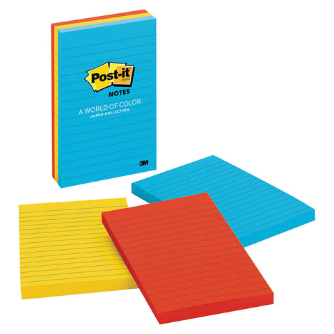Post-it Self Stick Ruled Notes, 4  x 6  Assorted Colors, 6-count