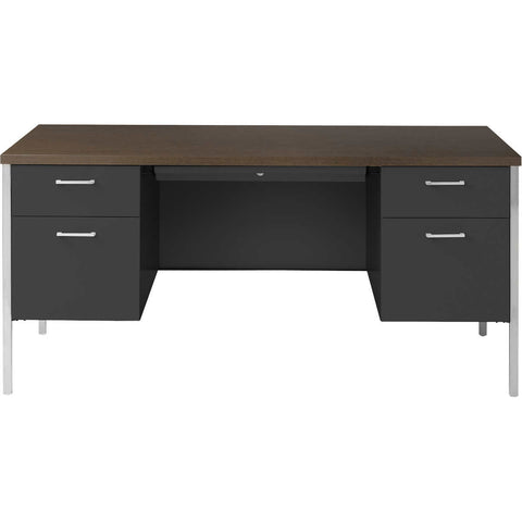 "Alera Double-Pedestal Steel Desk 60"" Walnut & Black"