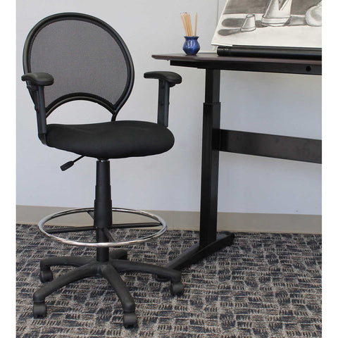 Mesh Drafting Stool with Adjustable Arms - Black