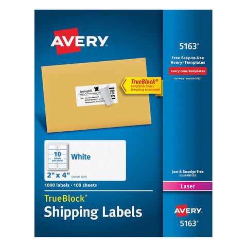 Avery Labels with TrueBlock Technology 2 x 4, 1000-count