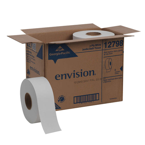Georgia-Pacific Envision Jumbo Bath Tissue Rolls 2-ply, White, 8-count